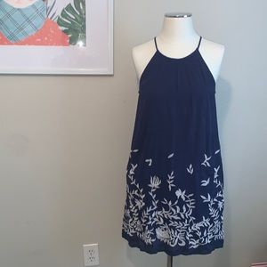 Lucky Brand Halter Floral Embroidered Dress
